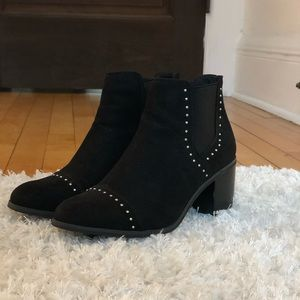 Black suede booties with studs